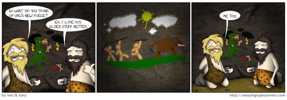 In this collection the people represent the human condition, the mammoth represents the burden of sentience, and the T-Rex represents HOLY SHIT DINOSAURS ARE BACK.