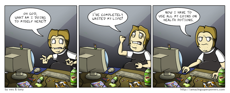 ALTERNATE REALITY: The comic is just the last panel and he is working on an excel spreadsheet.